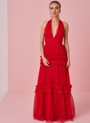 morhipo x dcey Fırfır Detaylı Tül Elbise Kırmızı